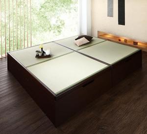 お客様組立 くつろぎの和空間をつくる日本製大容量収納ガス圧式跳ね上げ畳ベッド 涼香 リョウカ 中国産畳 セミダブル 深さラージ