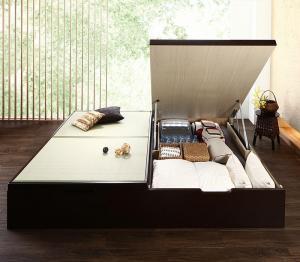 組立設置付 くつろぎの和空間をつくる日本製大容量収納ガス圧式跳ね上げ畳ベッド 涼香 リョウカ 国産畳 シングル 深さラージ【代引不可】