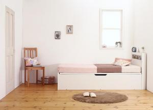 小さな部屋に合うショート丈収納ベッド Odette オデット 薄型スタンダードボンネルコイルマットレス付き セミシングル ショート丈 深さラージ【代引不可】