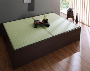 お客様組立 布団が収納できる・美草・小上がり畳連結ベッド ベッドフレームのみ ダブル【代引不可】