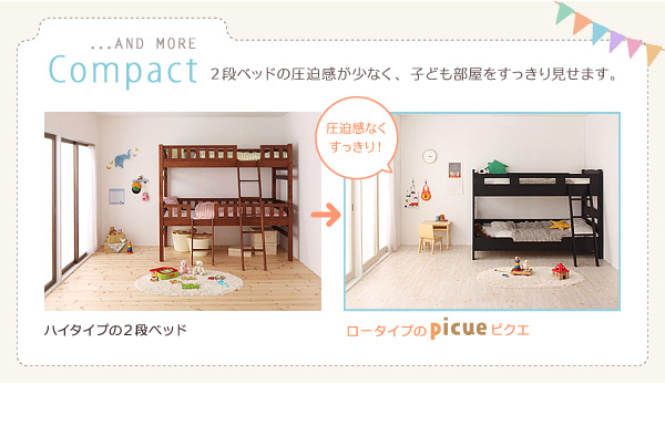 2段ベッド【picue regular】【カラーメッシュマットレス2枚付き