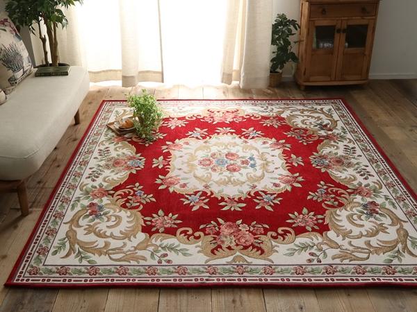高級シェニール糸で織られた美しいデザインのゴブラン織ラグ 約190x240cm レッド