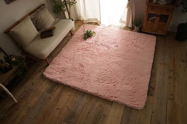 大人気!洗えるスベリ止め付きマイクロファイバーロングシャギーラグ 約190x240cm ピンク