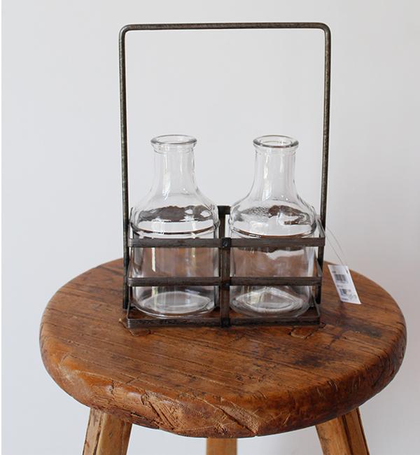 置いてもつり下げても雰囲気のあるフラワーベース ブリュージュ 2ボトルアイアンホルダー ゆうパック発送 商品 アンティーク調 アウトレット☆送料無料 花瓶 ガラス