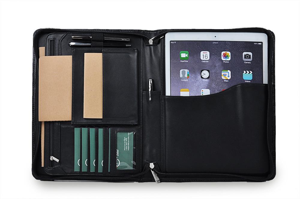 新型12.9-inch iPad Pro用ケース 牛革製オーガナイザー ポケット付き