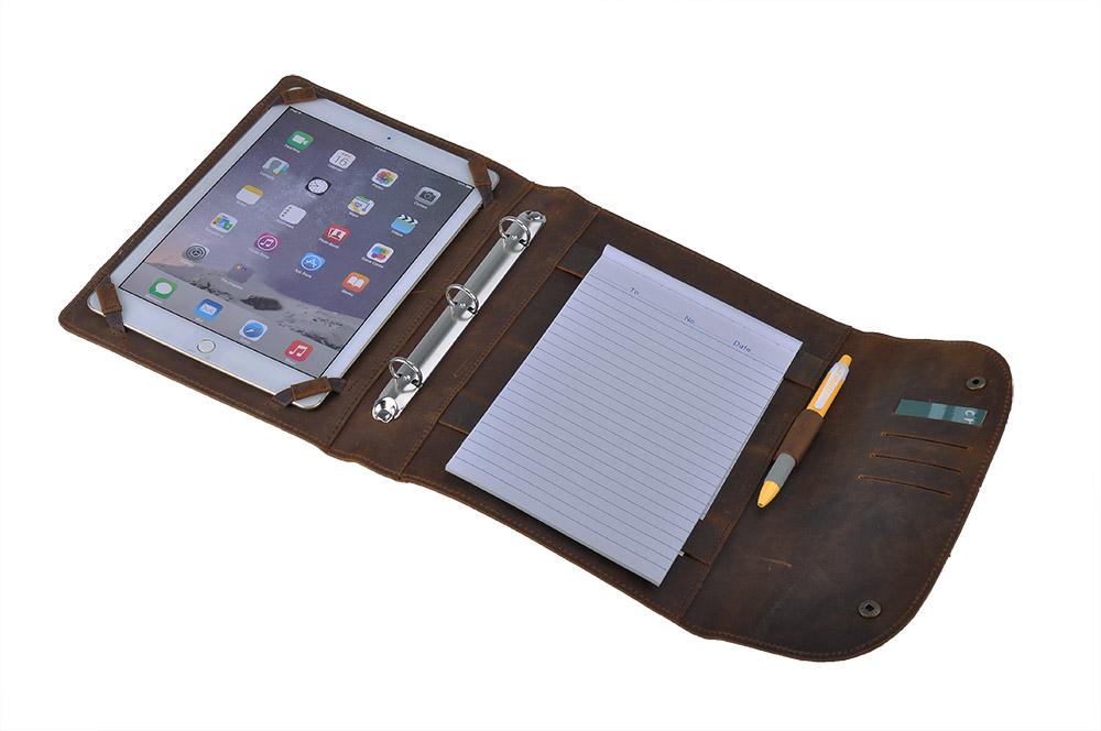 iPad Pro 10.5 inch / 9.7 inch ケース 素朴な革オーガナイザー 3リング式バインダー付き ビジネスパッドフォリオ,タン