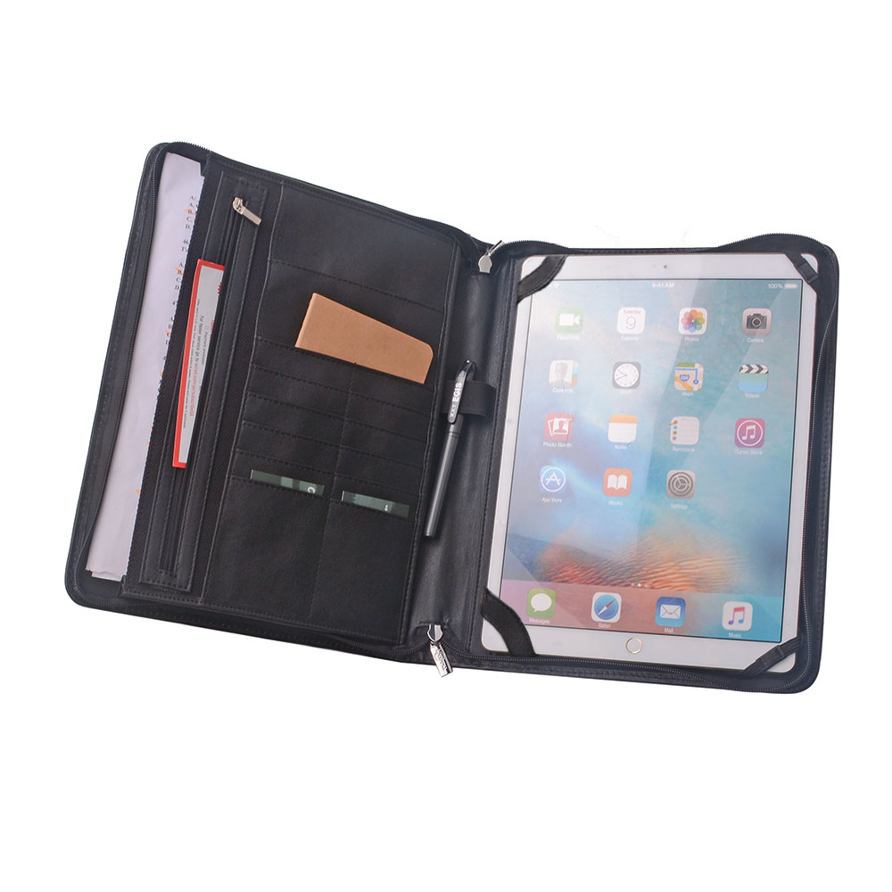 ポートフォリオ 12.9インチ iPad Pro用ケース 多機能バインダー A4用紙,ブラック