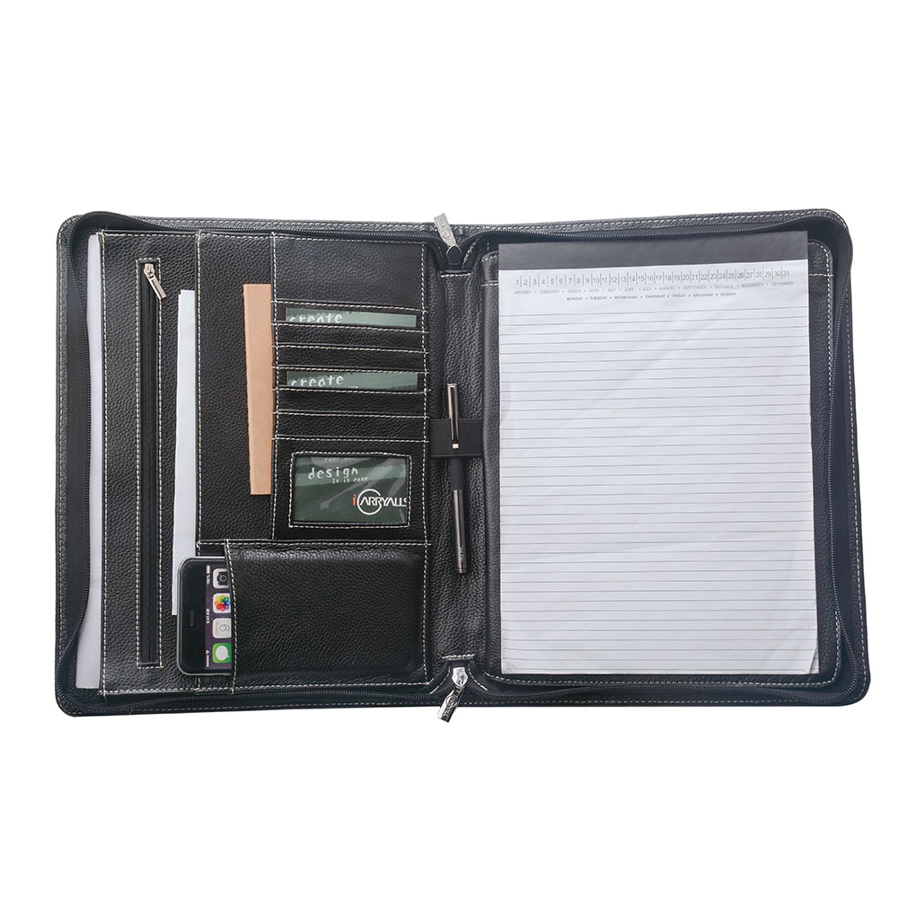 iPad Pro 10.5 inch / 9.7 inch / 12.9 inch と A4用 オーガナイザーパッド フォリオ エグゼクティブポートフォリオ レザージッパーPadfolioケース,ブラック