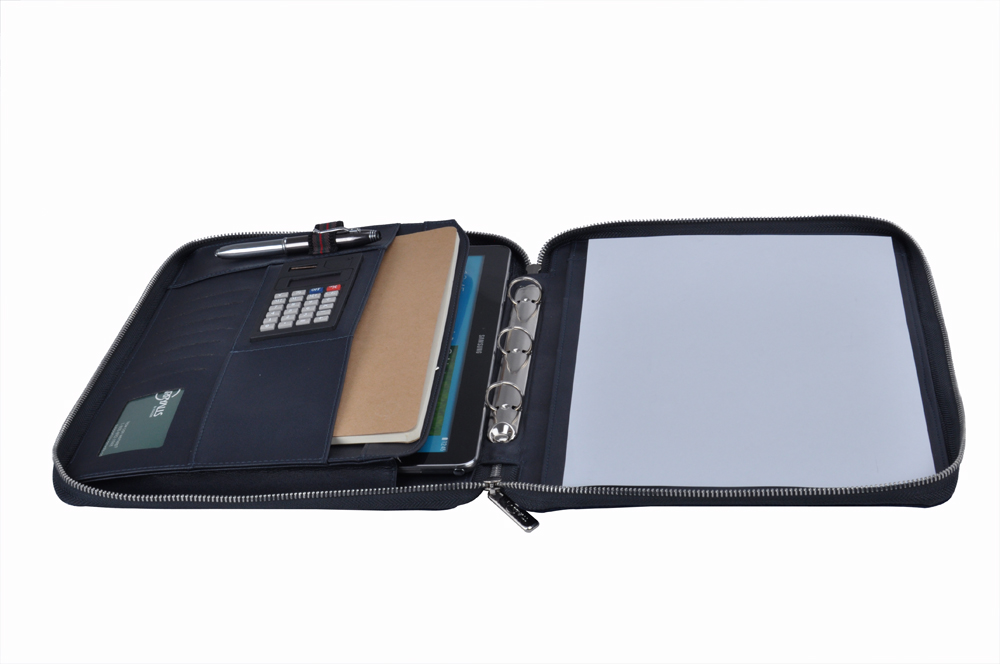 電卓付き プレミアムスウェードレザー製 11インチノート型パソコン用ケース ハンドル付き多機能バインダー