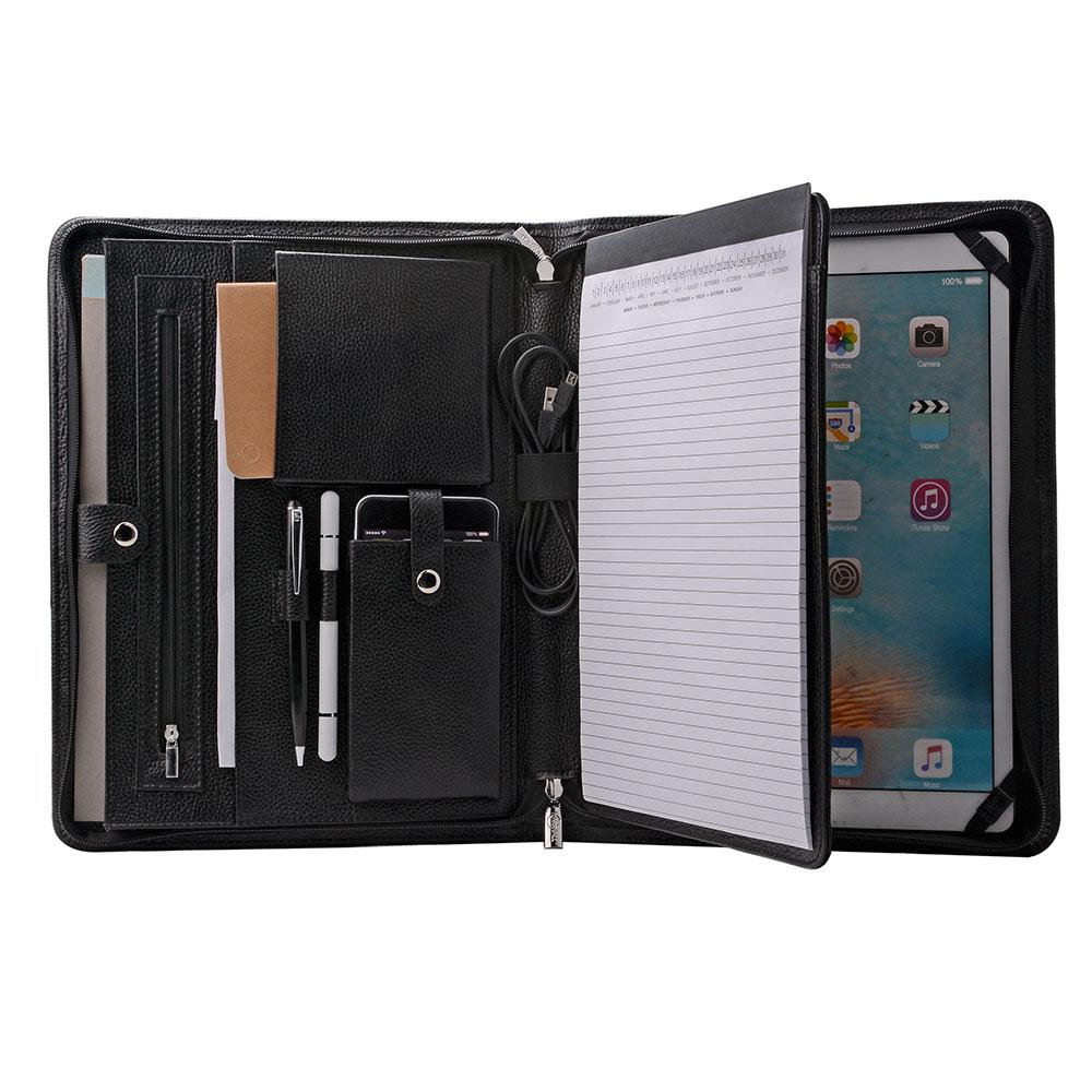 iPad Pro 10.5 inch / 9.7 inch / 12.9 inch と A4用 オーガナイザーパッド フォリオ エグゼクティブポートフォリオ レザージッパーPadfolioケース