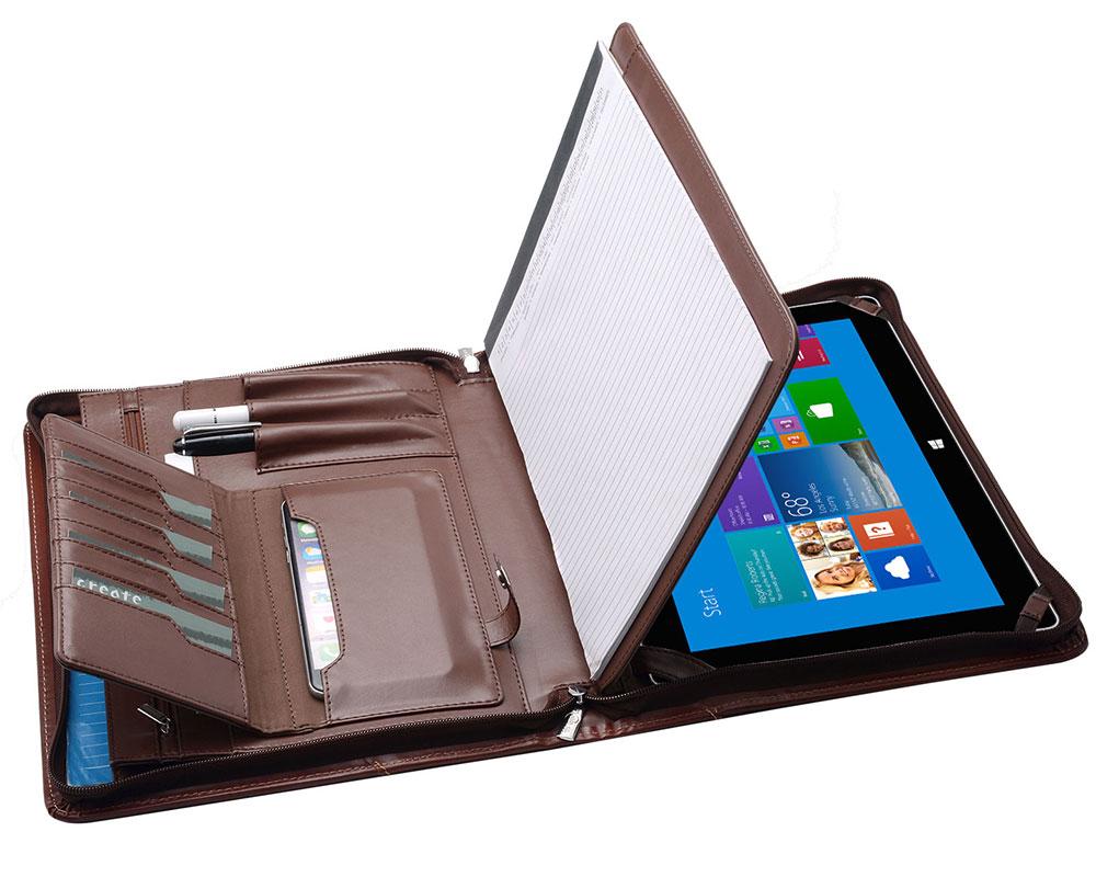ノートパッドホルダー付きジッパーポートフォリオ、オーガナイザーポケット付きデザイナーポートフォリオ、New Surface Go/Surface Pro用