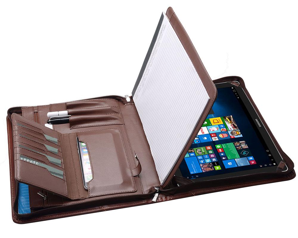 ノートパッドホルダー付きジッパーポートフォリオ、オーガナイザーポケット付きデザイナーポートフォリオ、Samsung Galaxy Tab Pro S 12用