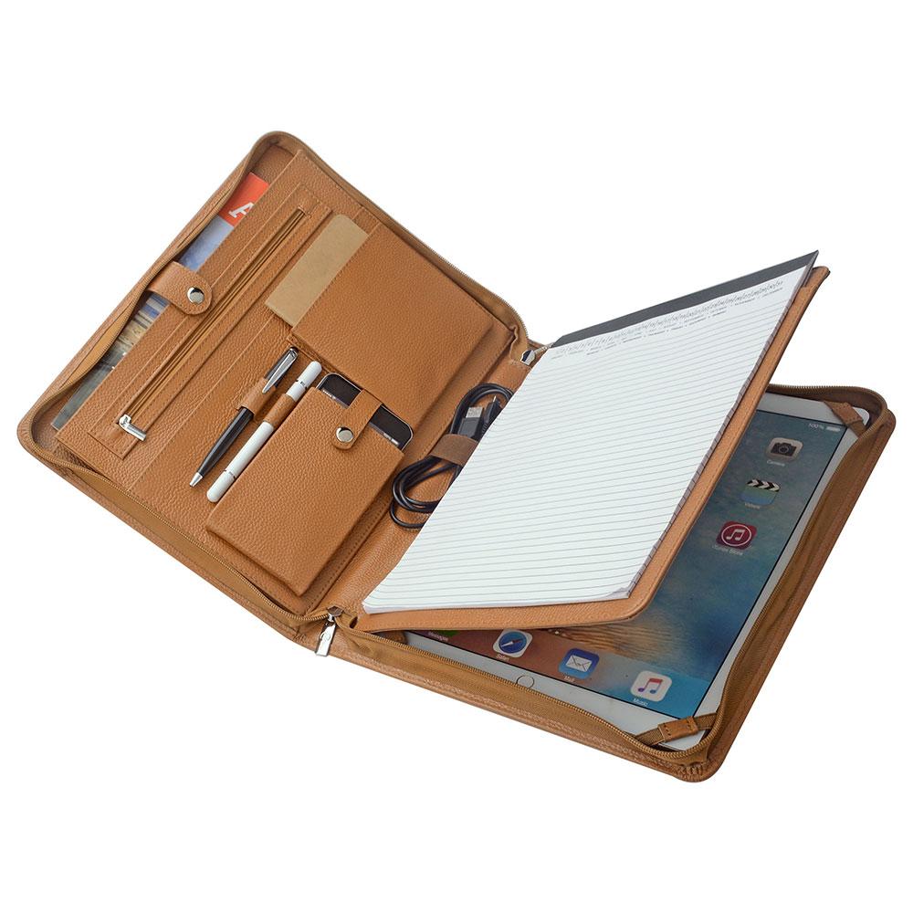 高級ビジネスパッドフォリオ A4サイズオーガナイザー12.9インチ iPad Pro用ケース 多機能書類フォルダー 牛革 ポータブル
