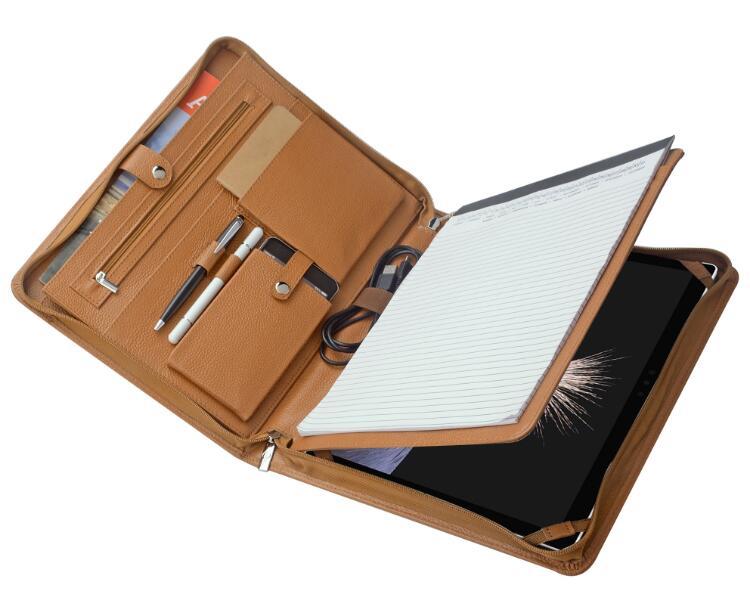 高級ビジネスパッドフォリオ A4サイズオーガナイザーMicrosoft Surface Pro 4 / The New Surface Go用ケース 多機能書類フォルダー 牛革 ポータブル
