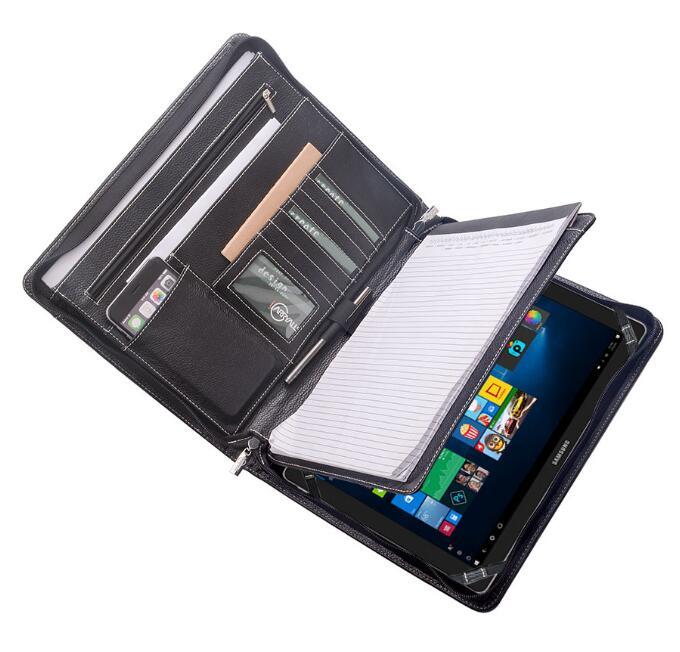 Samsung Galaxy TabPro S 12 と A4用 オーガナイザーパッド フォリオ エグゼクティブポートフォリオ レザージッパーPadfolioケース,ブラック
