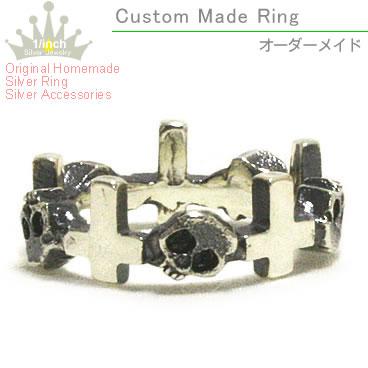 ドクロとクロス 十字架 のナイスなコンビネーション シルバーリング ドクロ クロスシルバーリング-Ruby marguerite- スカル 骸骨 アクセサリー スターリングシルバー メイド オーダー ファランジリング532P15May16 ピンキーリング シンプルシック レディース かわいい ラッピング無料 ミディーリング 好評 指輪 大人 重ね付