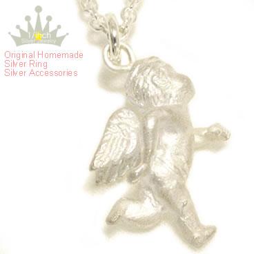 Antique プチエンジェルシルバーネックレス − ジョギングエンジェル − Ruby marguerite Angel, スターリングネックレス, 925 Silver, made to order 10P28oct13fs3gm