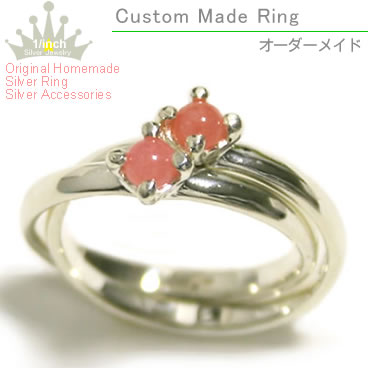 Popular NO1 ☆ healing pretty pink ダブルインカ rose 2-silver ring - Ruby marguerite-sterling silver pinky ring and small, oversized, size, ring, ladies, handmade and cute, along with, love, natural stone and power stone 10P10Nov13fs3gm