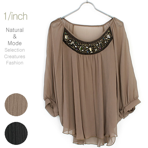 4b031066b Breast glitter embroidery sallow chiffon poncho style volume blouse Breast  origin is embroidery glitteringly.