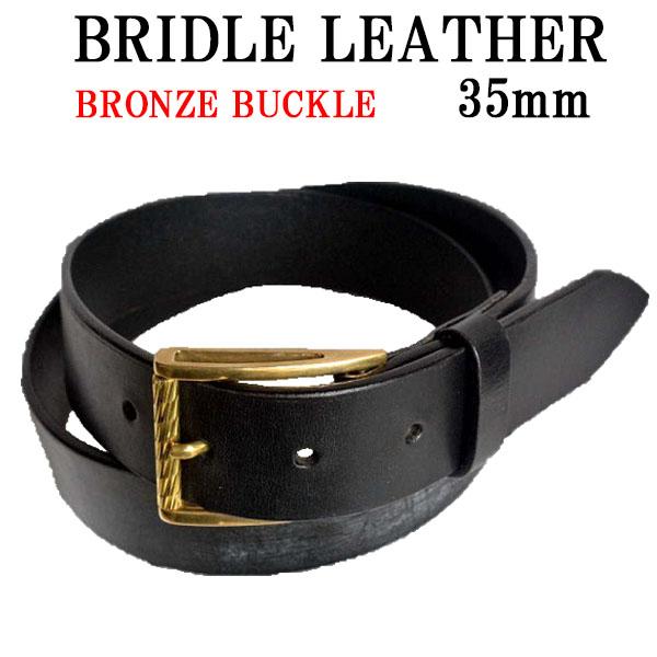 35mm【ブライドルレザー ベルト ブラック イタリア製 ブロンズ ローラー バックル A1】ブライドルレザー バンド/英国 ブライドルレザー/ハンドメイド/日本製/自社製作