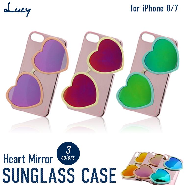 iPhone8 iPhone7 ケース カバー Lucy iPhone 第2世代 も対応 ハートミラーサングラス付ハードケース 数量は多 供え SE