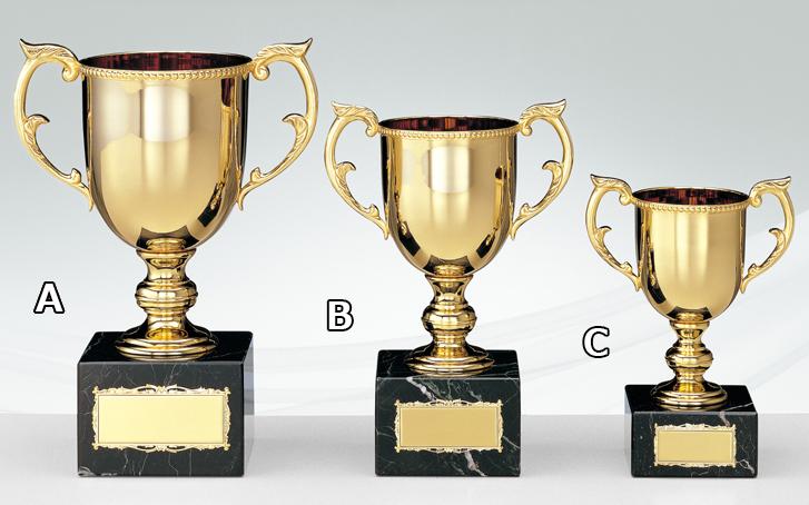 高級優勝カップ ゴールド 金属製 天然石 26cm 3サイズ 紅白リボン付 名入れ 持ち回り レプリカ ゴルフ 野球 サッカー 表彰 賞品 大会 コンペ イベント《送料無料・文字入無料》【KRG-08703 Bサイズ】高さ:26cm 口径:10.5cm AGH-3