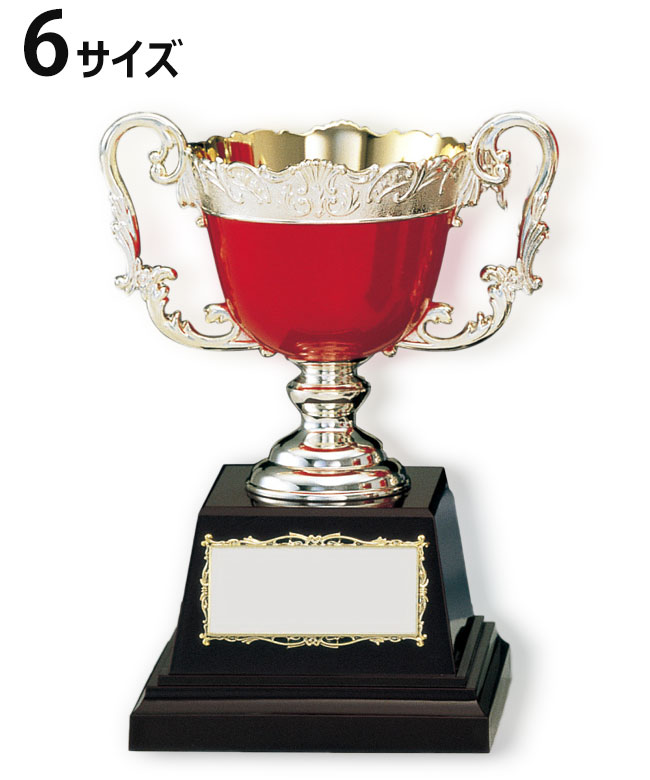 優勝カップ カラー 金属製 23cm 6サイズ 紅白リボン付 名入れ 持ち回り レプリカ ゴルフ 野球 サッカー 表彰 賞品 大会 コンペ イベント 赤《送料無料・文字入無料》【 KAC-09361 Bサイズ】高さ:23cm 口径:11.5cm ASH-3