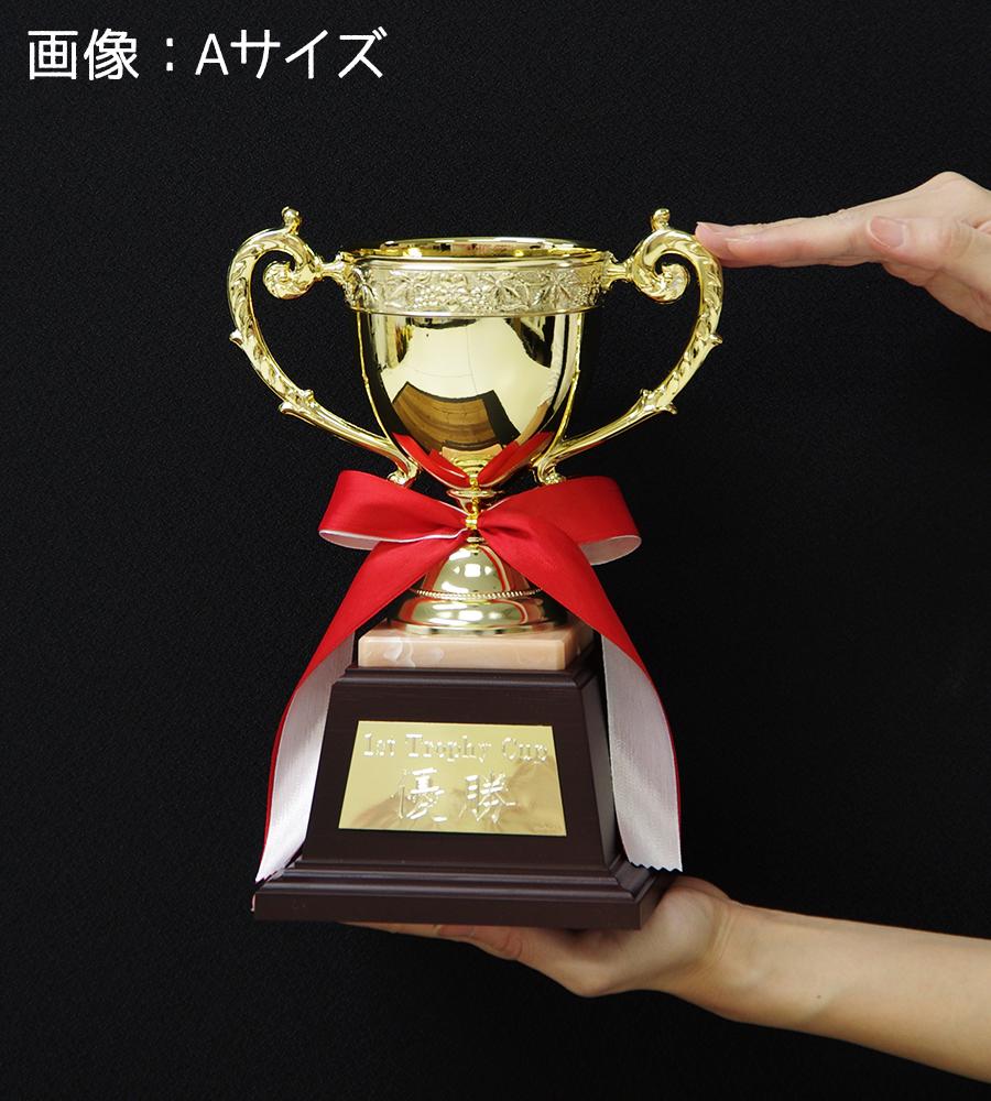 優勝カップ ゴールド 金属製 25.5cm 4サイズ 紅白リボン付 名入れ 持ち回り レプリカ ゴルフ 野球 サッカー 表彰 賞品 大会 コンペ イベント《送料無料・文字入無料》【YNO-02513 Aサイズ】高さ:25.5cm 口径:10.0cm BG 12