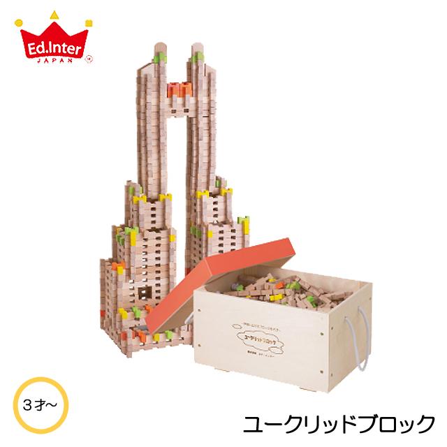 ユークリッドブロック600ピース入り木箱ケース 積み木 知育玩具 教育玩具 ブロック遊び 幼稚園 保育園向け 大容量玩具