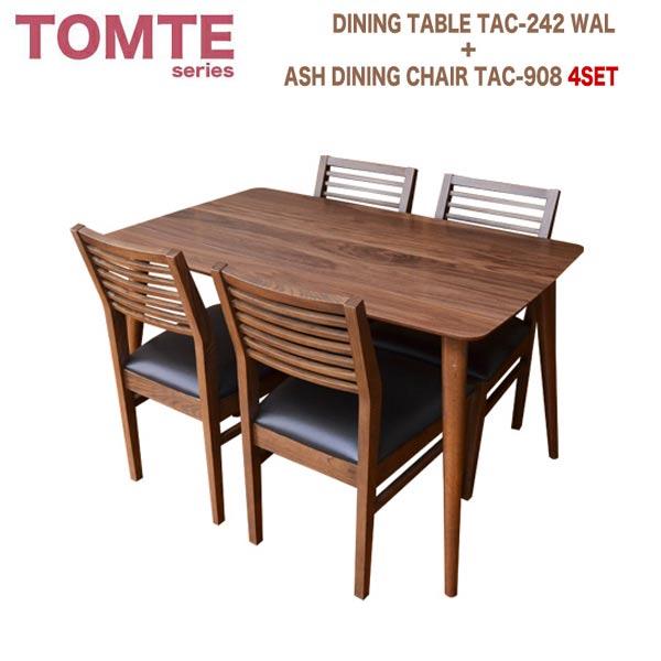 ダイニングテーブル5点セット TAC-242WAL+TAC-908×4 ダイニングテーブルセット ダイニングセット ミッドセンチュリーテイスト 北欧テイスト トムテシリーズ
