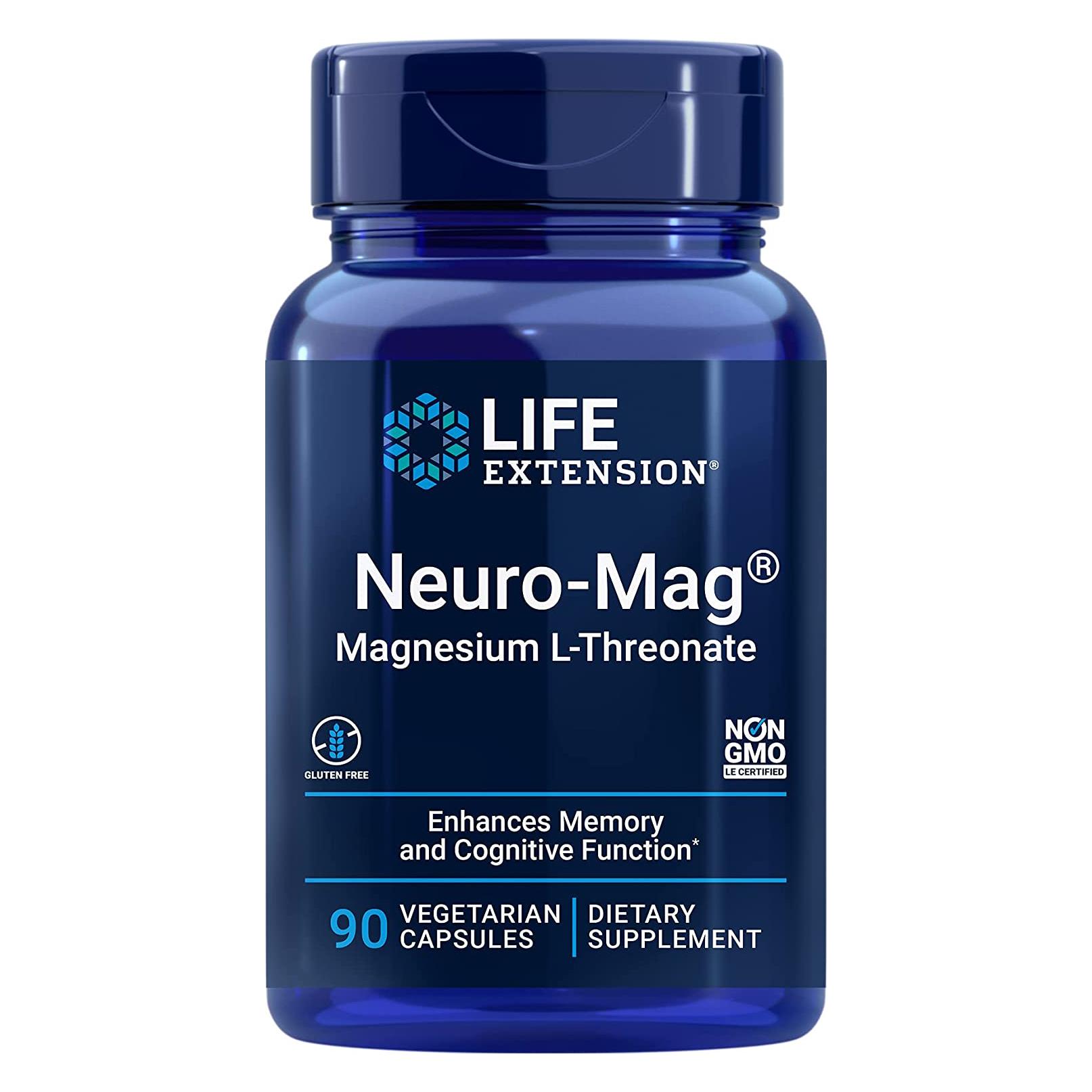 年中無休 Life Extension ライフエクステンション Neuro-Mag ☆送料無料☆ 当日発送可能 ニューロマグ 海外直送品 L-スレオネート 90ベジタリアンカプセル マグネシウム