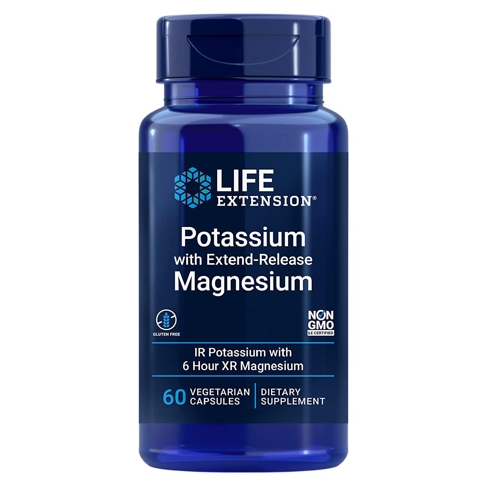 Life Extension ライフエクステンション カリウム 超人気 上品 徐放マグネシウム含む 60ベジタリアンカプセル 海外直送品