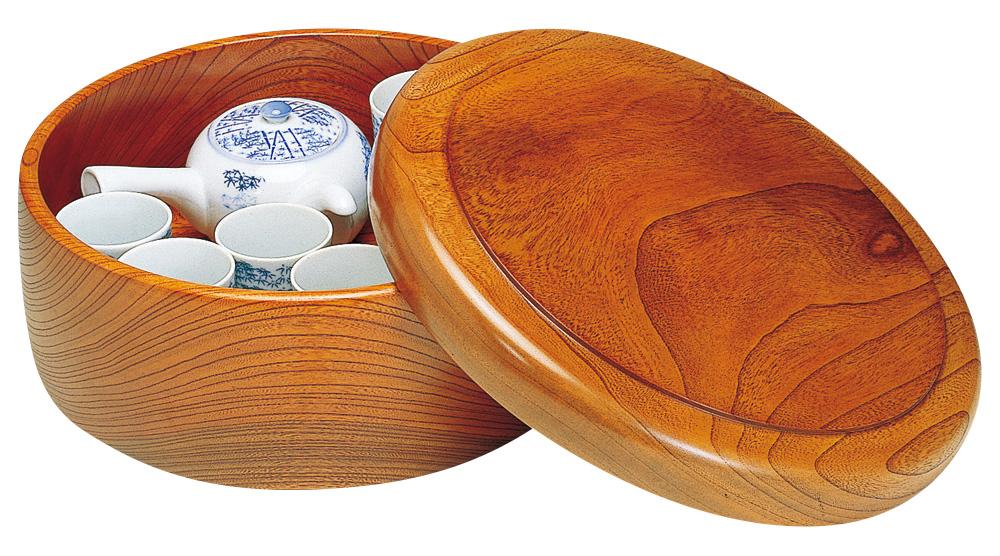 食卓を引き立てる竹製・木製の卓上用品 茶器入れ 茶櫃 ケヤキ 茶ビツ 尺0 てまひま工房