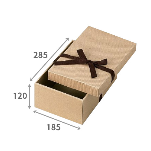 送料無料・ひも付き/無し ナチュラルボックス「100枚」285×185×深さ120mm  ダンボール 段ボール 片段 ギフト箱 包装 ラッピング※代引不可※ ※個人様宛配送不可※