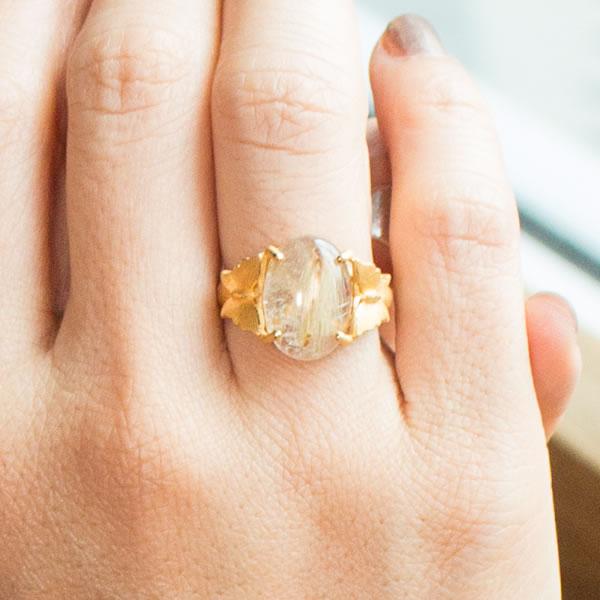 Prima Gold Japan 24 Karat Gold Ring Golden Rutile Quartz Thai