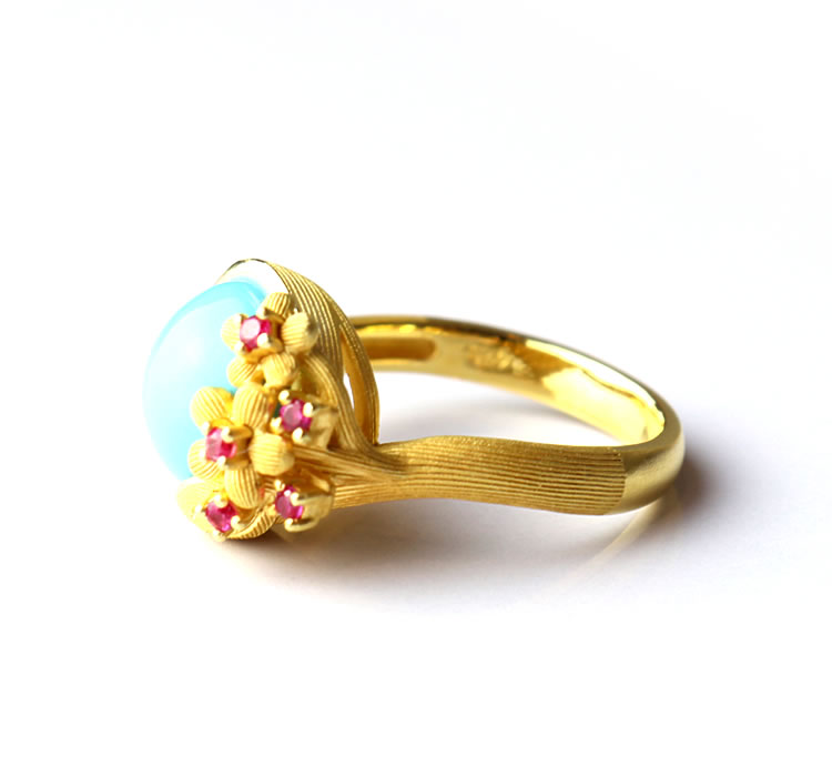 Prima Gold Japan Pure Gold Ring Turquoise Ring Lady S Woman Yellow