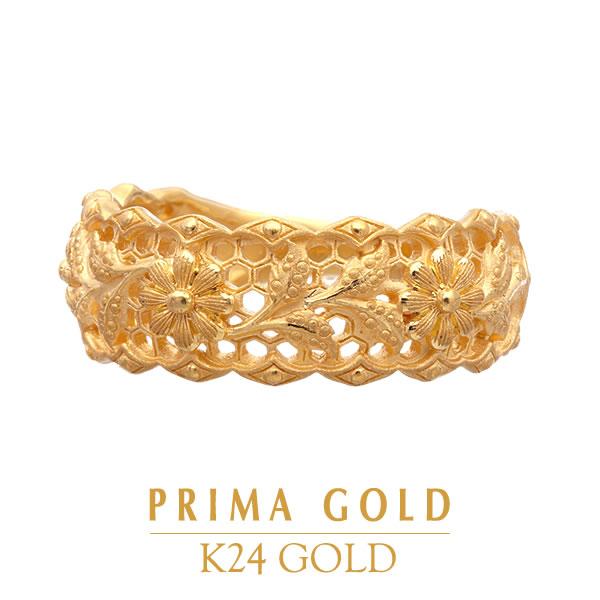 純金 24K 指輪 フラワー 花 モチーフ リング レディース 女性 イエローゴールド プレゼント 誕生日 贈物 24金 ジュエリー アクセサリー ブランド プリマゴールド PRIMAゴールド K24 送料無料