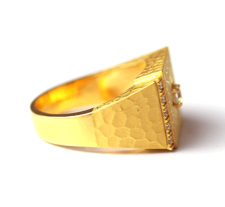 It Is Recommended To Pure Gold Men Mark Stand Ring K24 Primagold Gift A Present