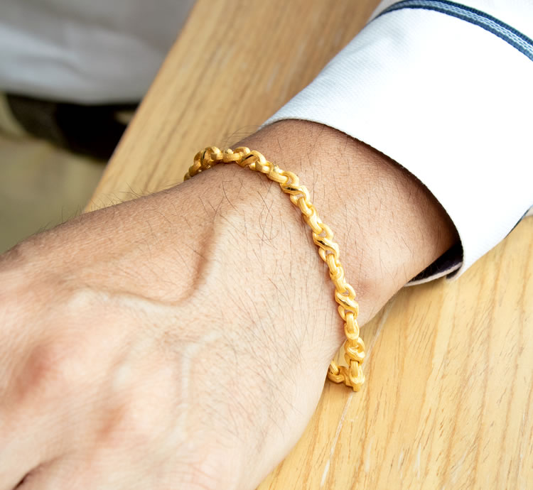 Pure Gold Bracelet Men Man Yellow