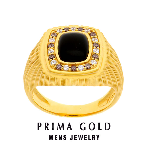 純金 24K オニキス シャンペンダイヤモンド 印台リング 指輪 メンズ 男性 イエローゴールド プレゼント 誕生日 記念日 贈物 24金 ジュエリー アクセサリー ブランド プリマゴールド PRIMAゴールド K24 送料無料