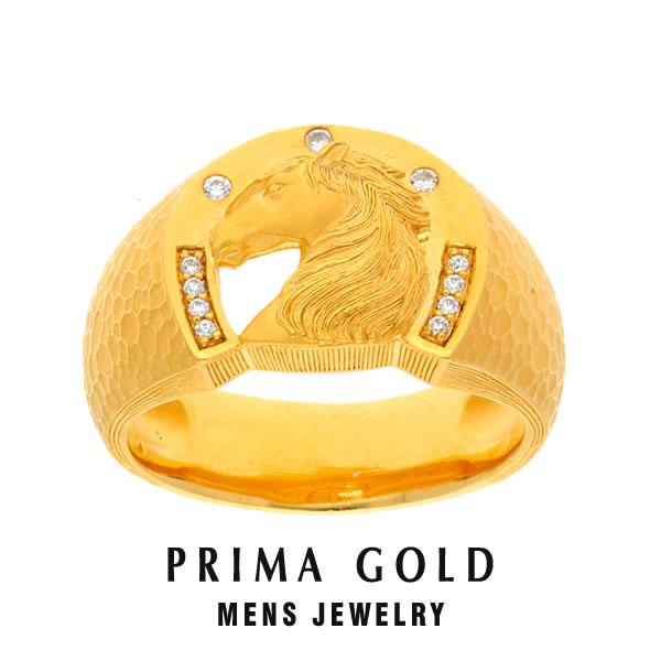 純金 24K ダイヤモンド 馬 ホース 印台リング 指輪 メンズ 男性 イエローゴールド プレゼント 誕生日 記念日 贈物 24金 ジュエリー アクセサリー ブランド プリマゴールド PRIMAゴールド K24 送料無料