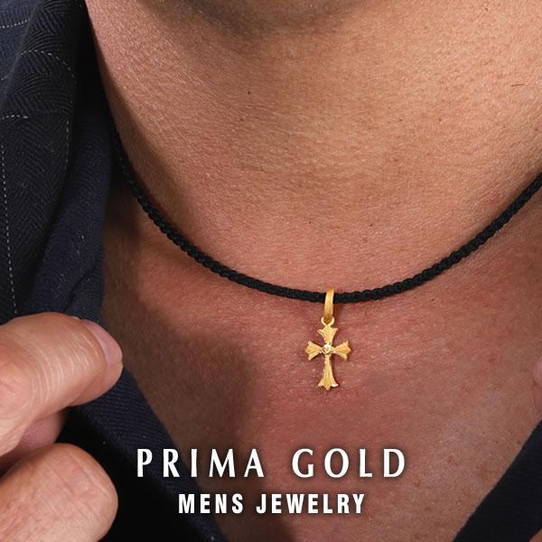 純金 24K ペンダント ネックレス 紐付き フレア クロス 十字架 メンズ 男性用 イエローゴールド プレゼント 誕生日 贈物 24金 ジュエリー アクセサリー ブランド PRIMAGOLD K24 送料無料