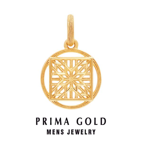純金 24K ペンダント ネックレス 紐付き スター模様 丸型 メンズ 男性用 イエローゴールド プレゼント 誕生日 贈物 24金 ジュエリー アクセサリー ブランド PRIMAGOLD K24 送料無料