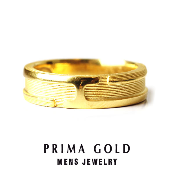 Prima Gold Japan Pure Gold Texturing Ring Men Man Yellow Gold