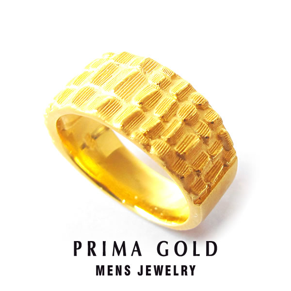 Prima Gold Japan Pure Gold Crocodile Ring Ring Men Man Yellow