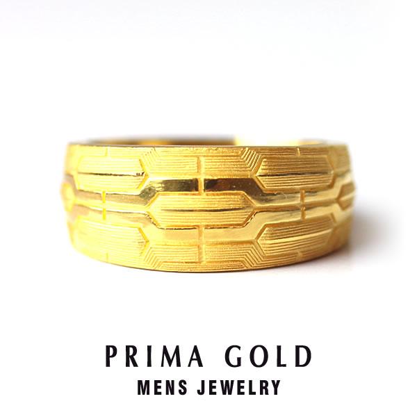 純金 24K テクスチャ模様 リング 指輪 メンズ 男性 イエローゴールド プレゼント 誕生日 記念日 贈物 24金 ジュエリー アクセサリー ブランド プリマゴールド PRIMAGOLD K24 送料無料