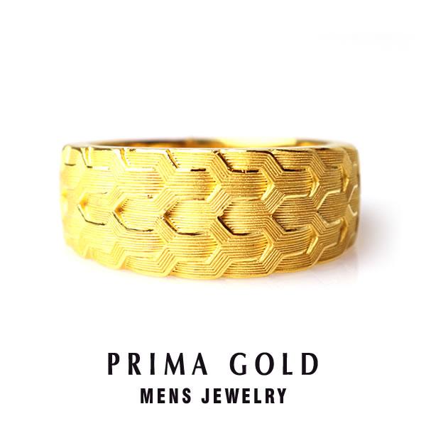 純金 24K 繊細 テクスチャ リング 指輪 メンズ 男性 イエローゴールド プレゼント 誕生日 記念日 贈物 24金 ジュエリー アクセサリー ブランド プリマゴールド PRIMAゴールド K24 送料無料