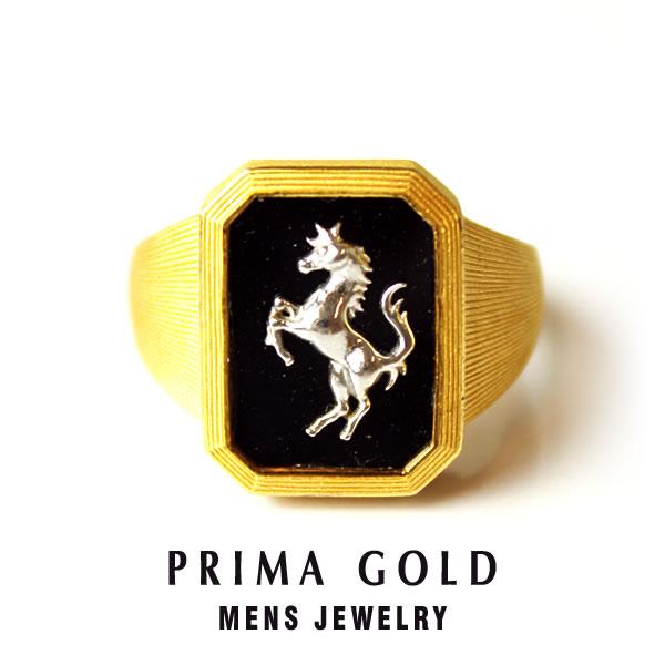 純金 24K ホース オニキス 印台リング 指輪 メンズ 男性 イエローゴールド K18WG プレゼント 誕生日 記念日 贈物 24金 ジュエリー アクセサリー ブランド プリマゴールド PRIMAゴールド K24 送料無料