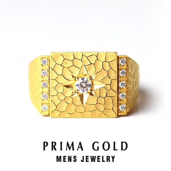 純金 24K ダイヤモンド 印台リング 指輪 メンズ 男性 イエローゴールド プレゼント 誕生日 記念日 贈物 24金 ジュエリー アクセサリー ブランド プリマゴールド PRIMAゴールド K24 送料無料