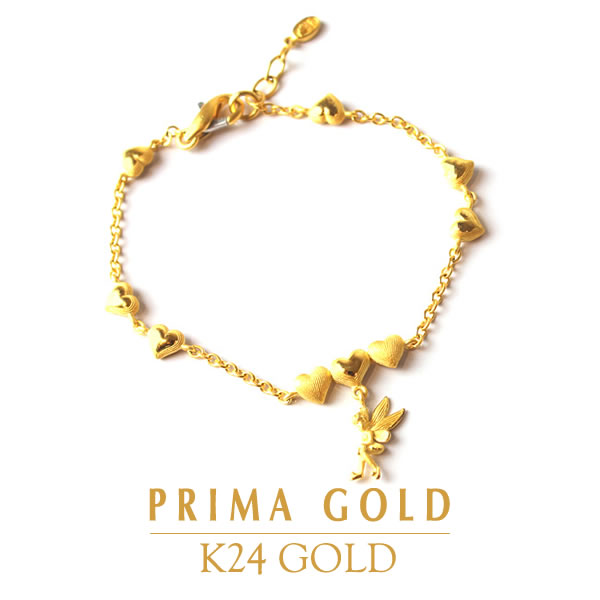 Pure Gold Bracelet Fairy Heart Lady S Woman Yellow Gift Present Birthday Memorial Day 24 Karat Jewelry Accessories Brand Guarantee